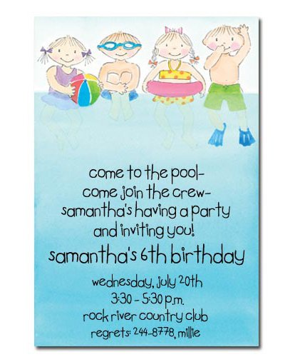 Swimming Birthday Girl Invitations Printable