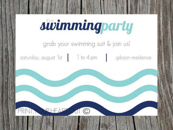 Swimming Party Invitation Templates Printables