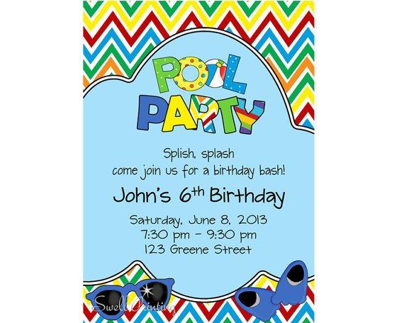 Swimming Pool Birthday Party Invitations