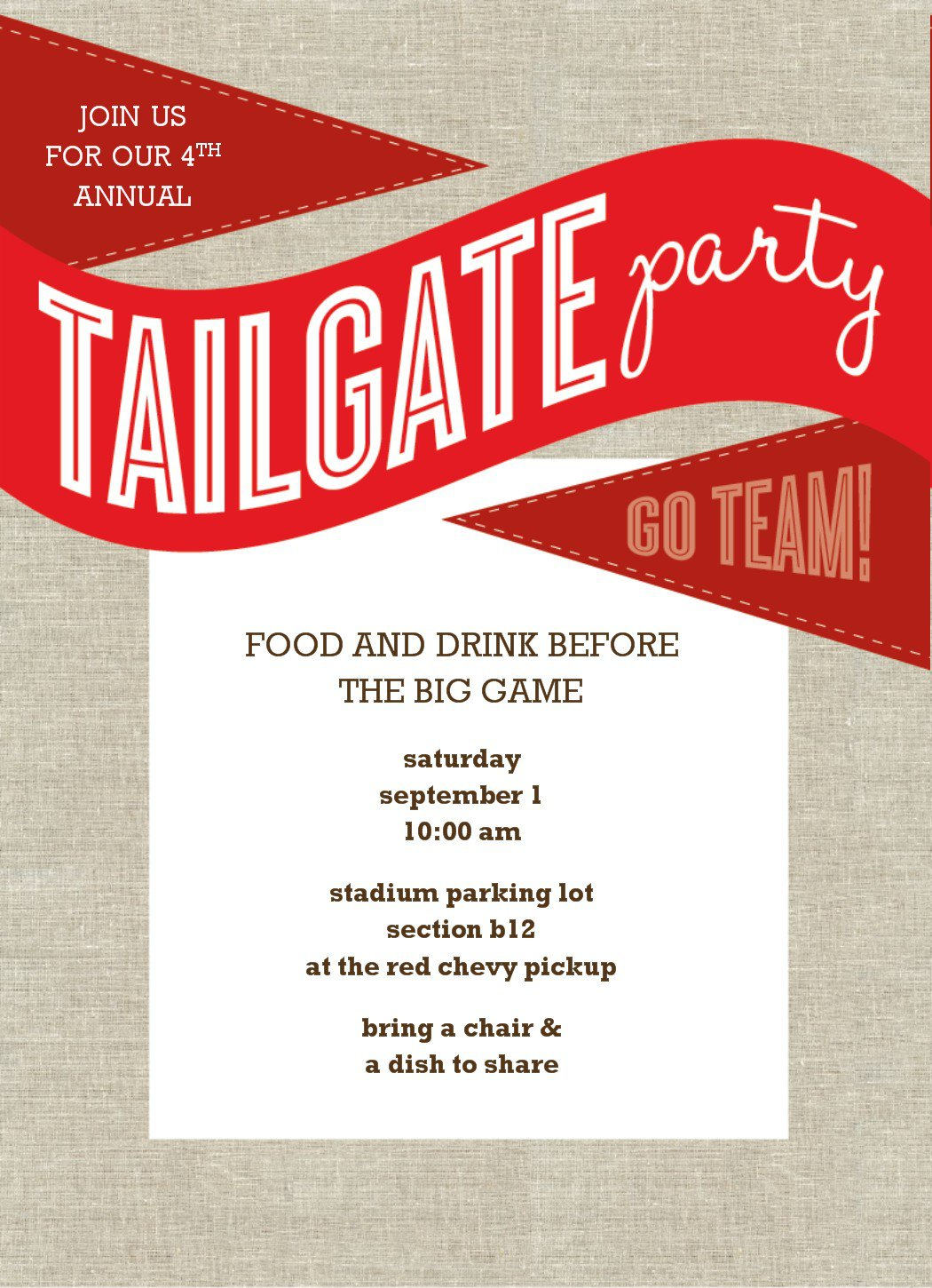 Tailgate Party Invitation Template Free