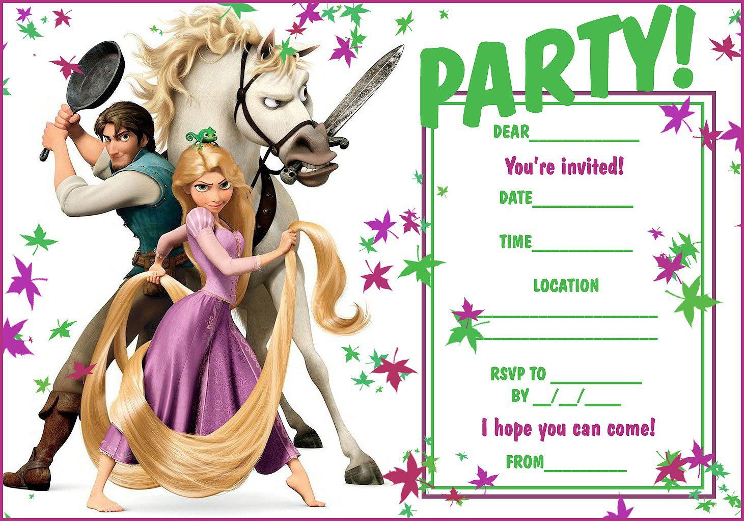 Tangled Party Invitation Templates