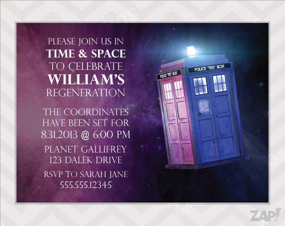 Tardis Birthday Invitations