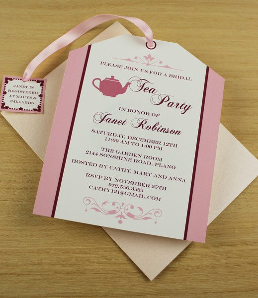 Tea Bag Invitations Template