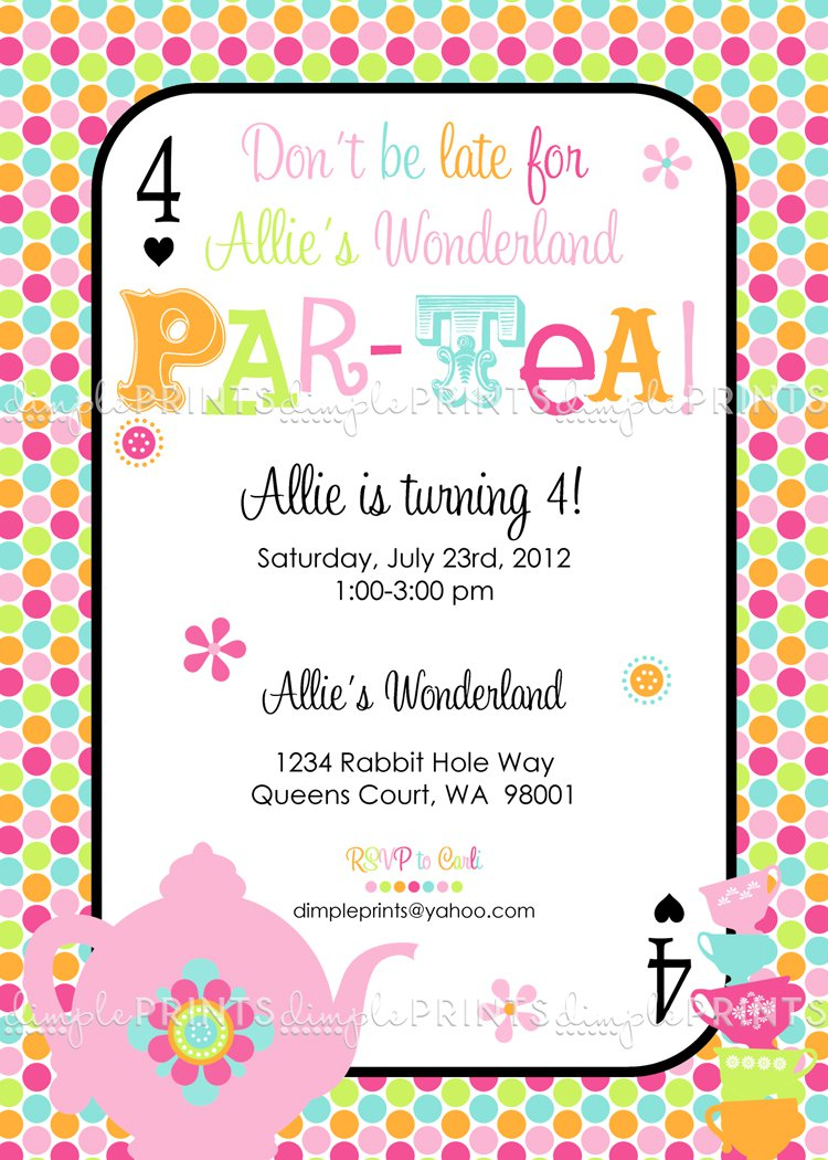 Tea Party Birthday Party Invitation Wording
