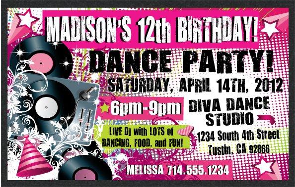 Teen Dance Invitations