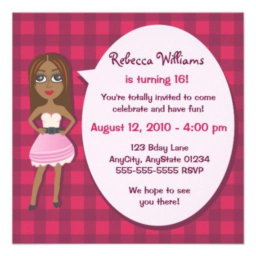 Teen Girl Birthday Invitations