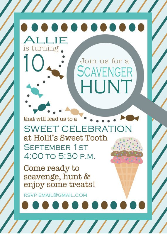 Teen Scavenger Hunt Birthday Invitations