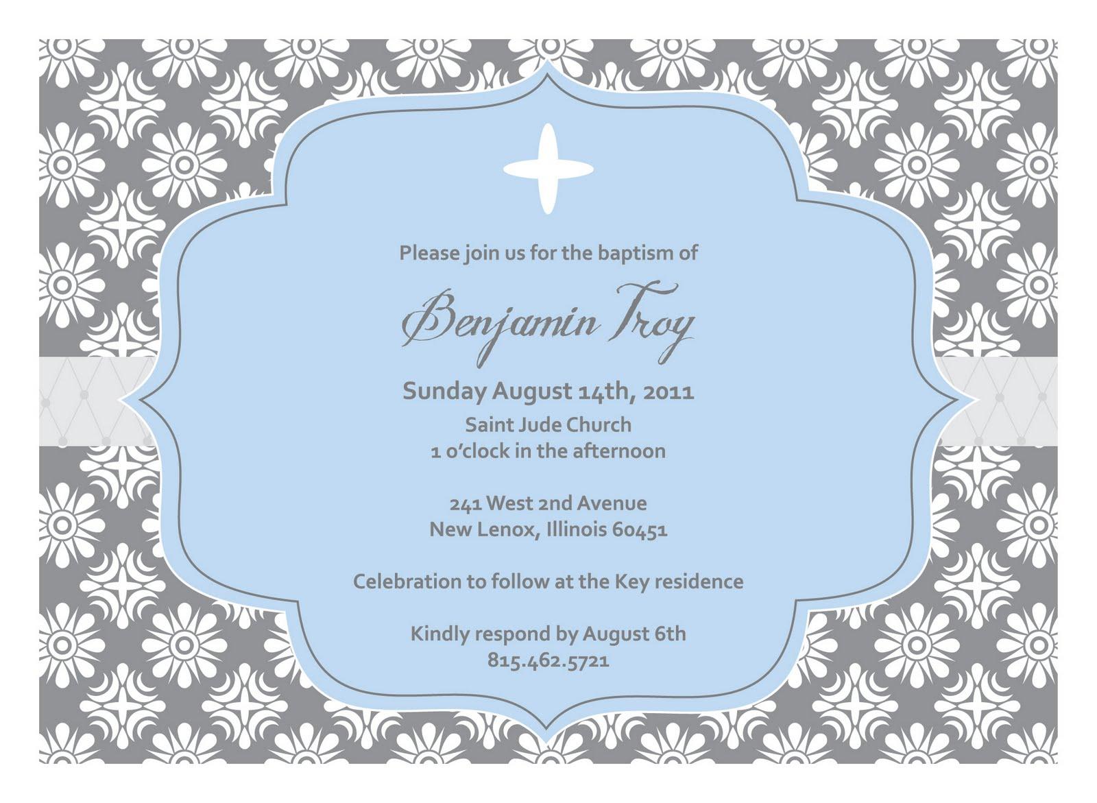 Templates For Boys Baptism Invitations
