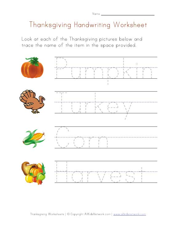 Thanksgiving Category Worksheets