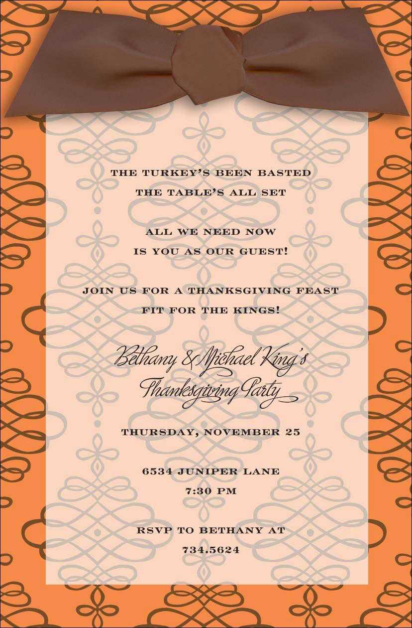 Thanksgiving Dinner Invitations Wording