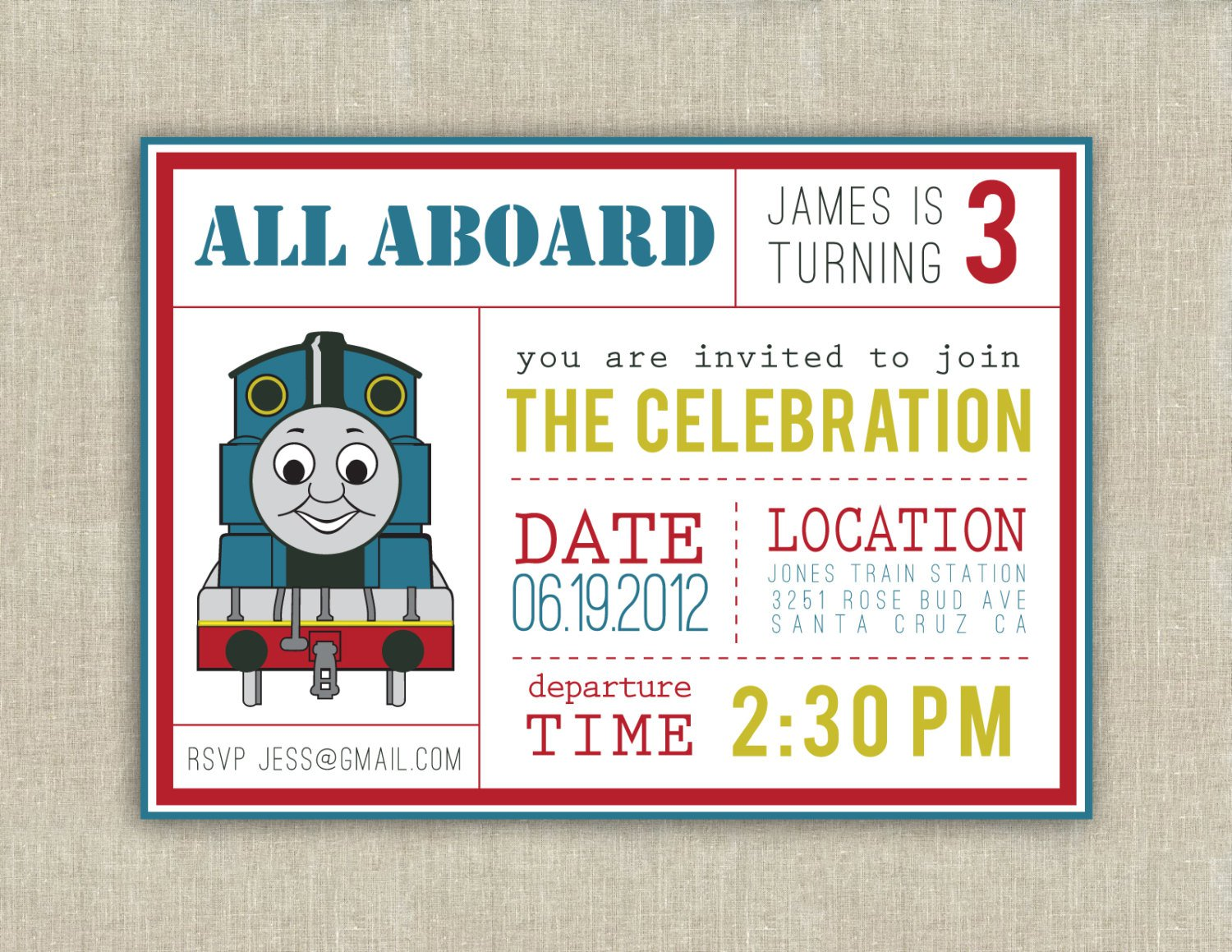 Thomas And Friends Invitations Templates