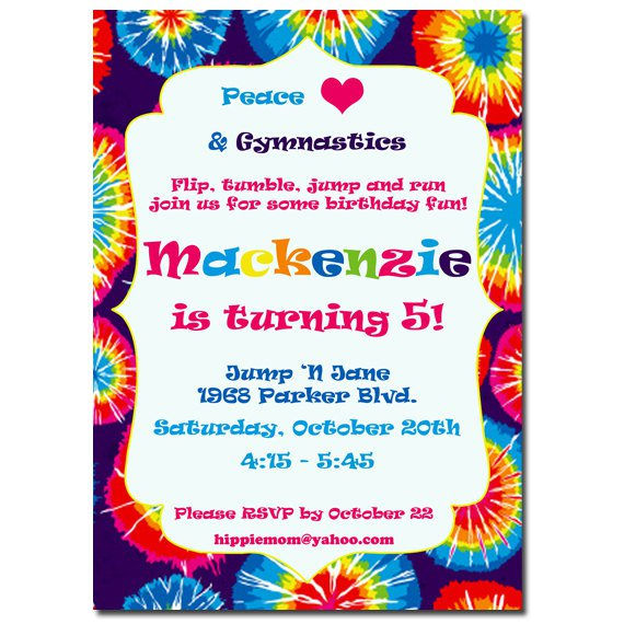 Tie Dye Birthday Invitations Printable