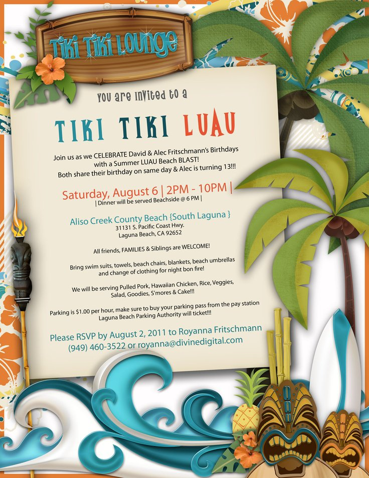 Tiki Invitations Ideas