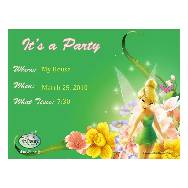 Tinkerbell 1st Birthday Party Invitations