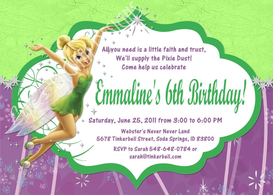 Tinkerbell invitation wording ideas sonundrobin tinkerbell invitation wording stopboris Choice Image