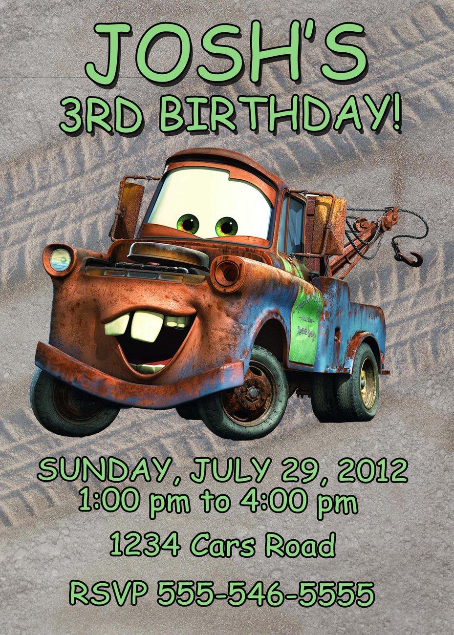 Tow Mater Birthday Invitations