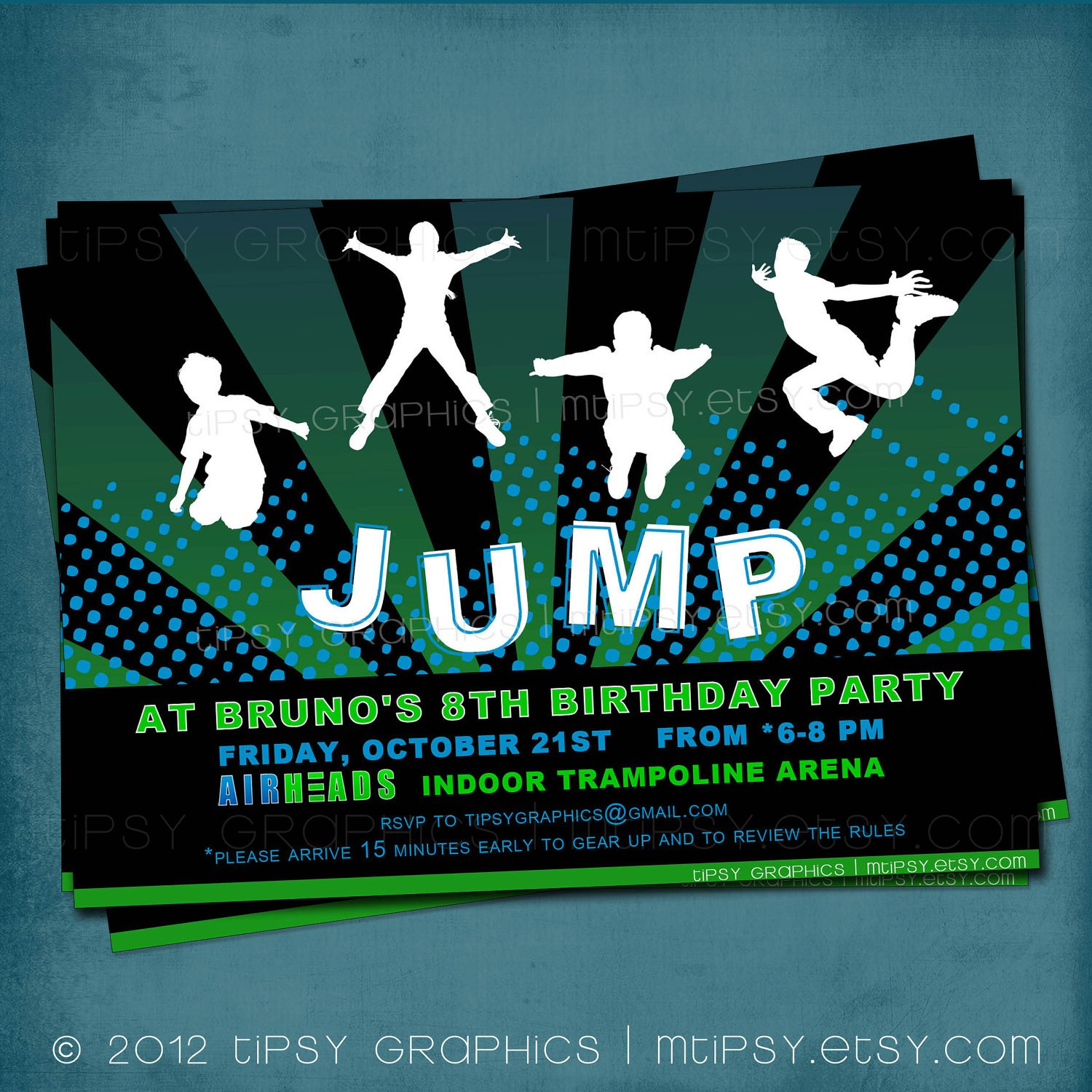 Trampoline Birthday Party Invitation Templates