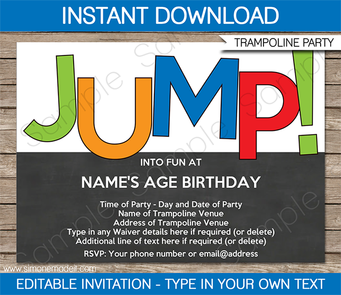 Trampoline Party Invitations Free