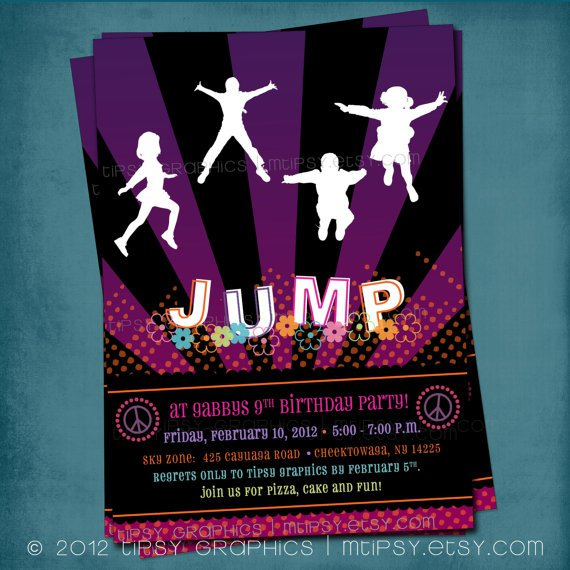 Trampoline Party Invitations Uk