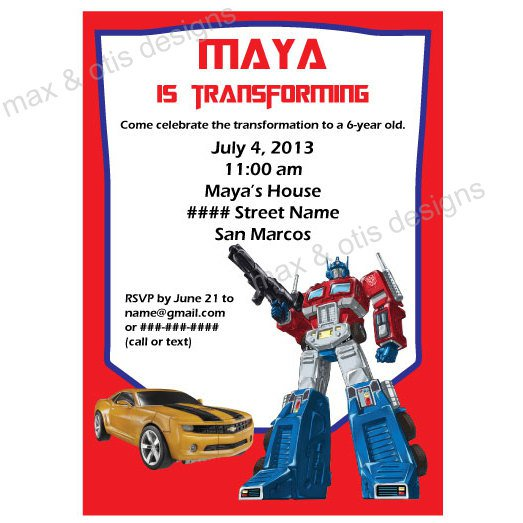 Transformer Invitations Templates Printable