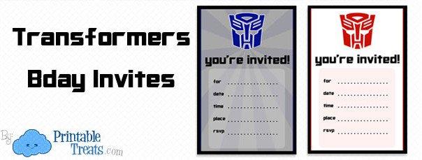 Transformers Birthday Invitation Templates