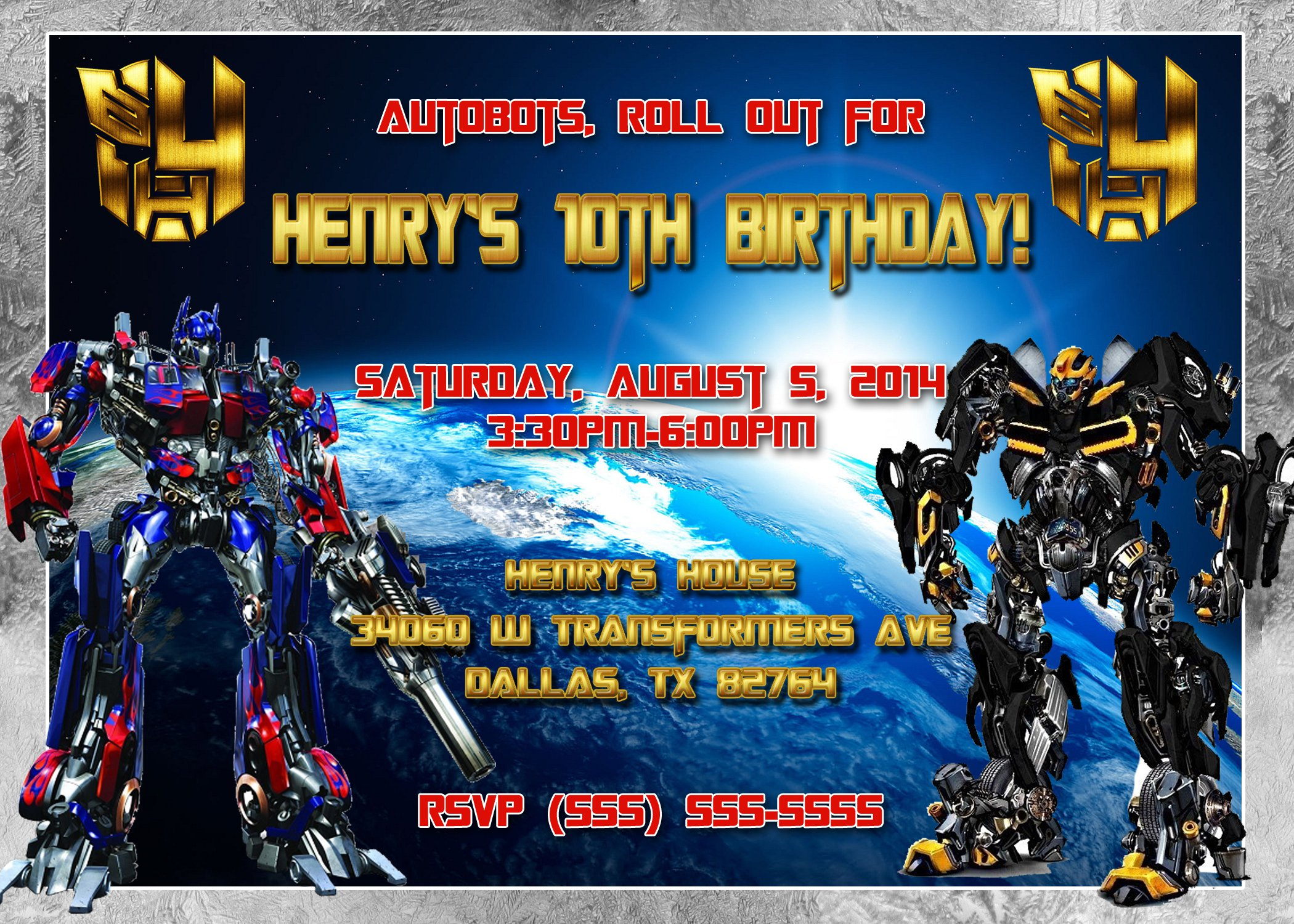 Transformers Invitation Templates Birthday