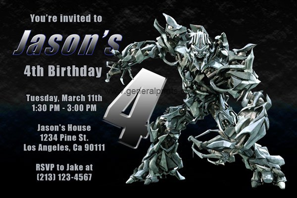 Transformers Party Invitations Printable