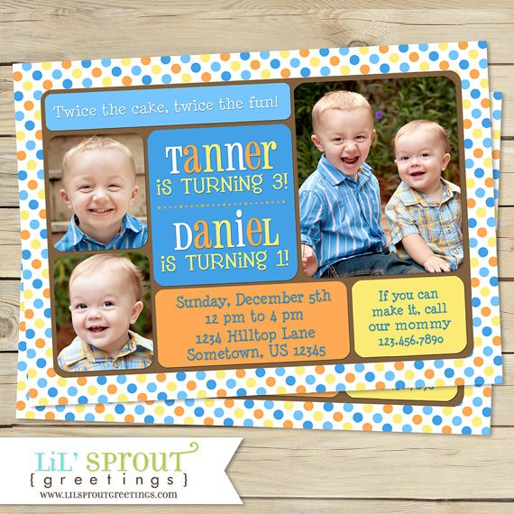 Twin Boys Invitation With Names