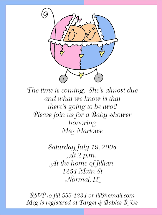 Twin Girl Baby Shower Announcements