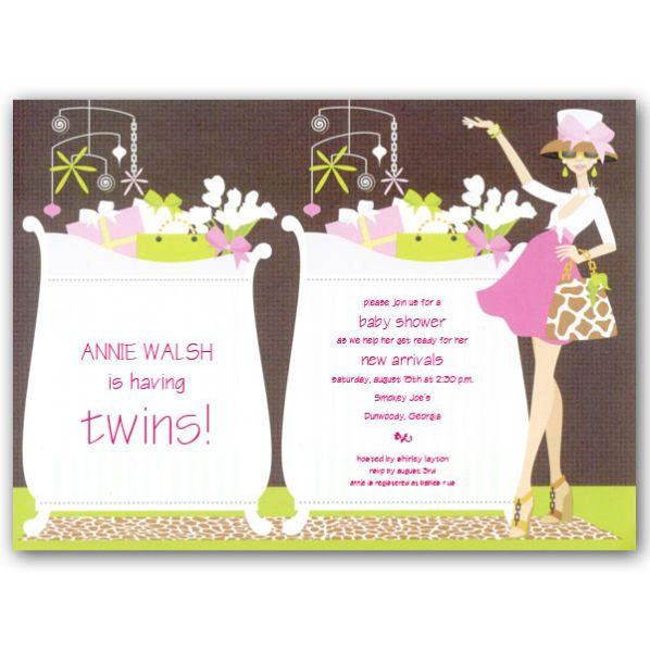 Twin Girl Baby Shower Invitations