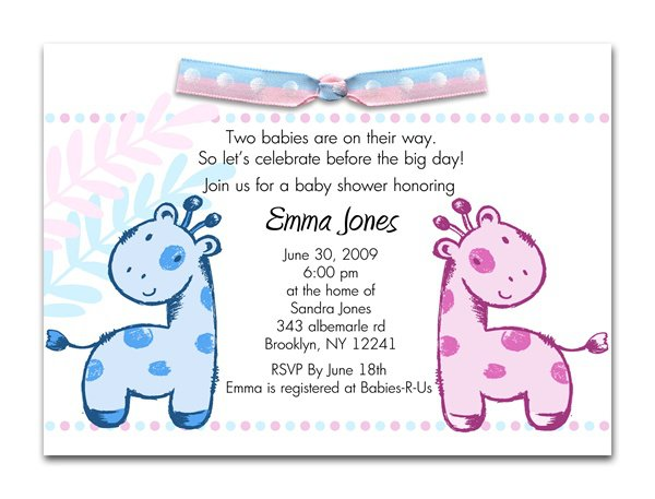 Twin Girl Baby Shower Invitations Wording