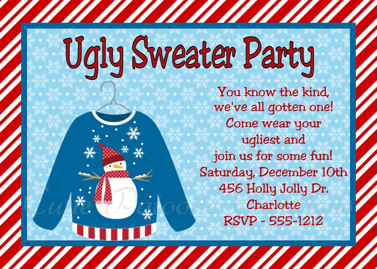 Ugly Christmas Sweater Party Invitation Templates