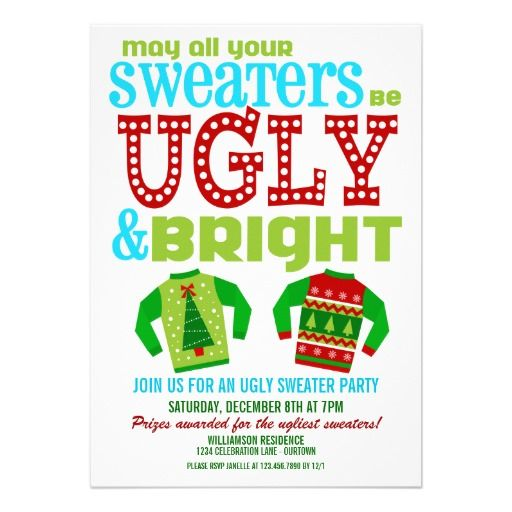 Ugly Christmas Sweater Party Invite Templates