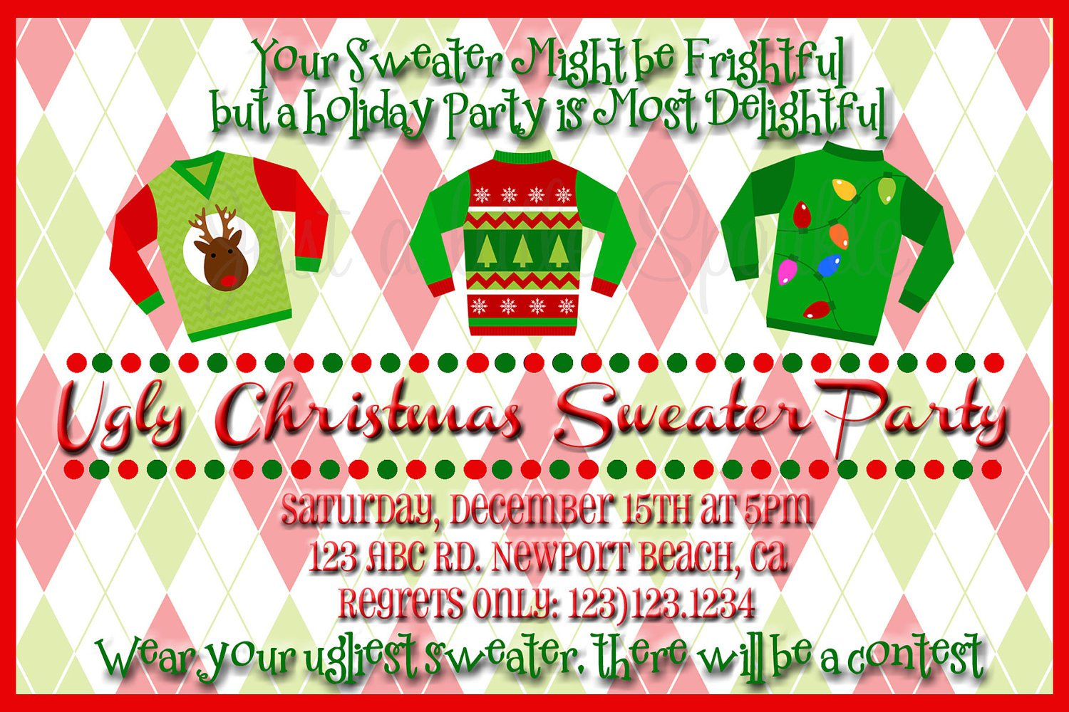 Ugly Christmas Sweater Party Invite Wording