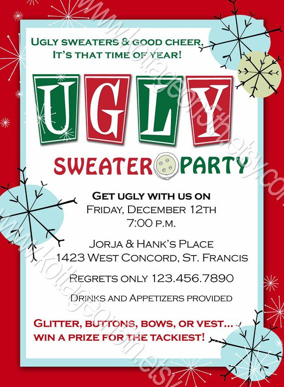 Ugly Sweater Party Invitation Wording