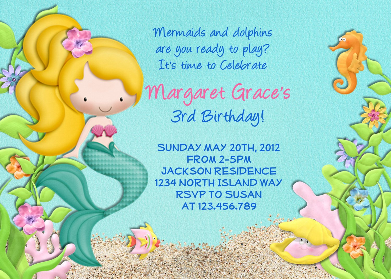 Under The Sea Invitations Mermaid