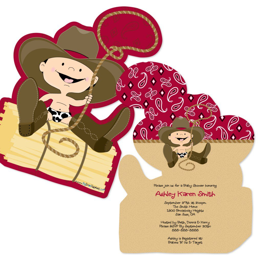 Unique Shaped Birthday Invitation Western