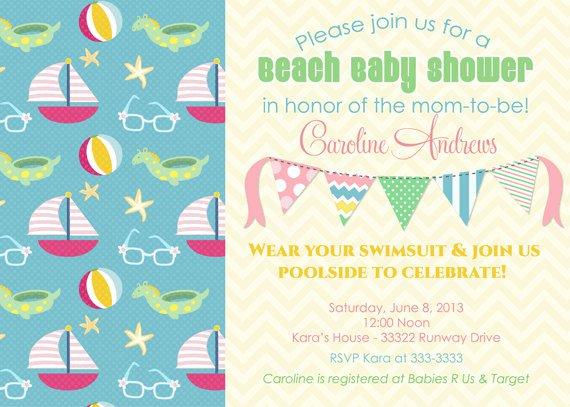 Vintage Beach Baby Shower Invitations