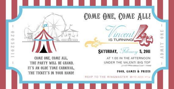 Vintage Carnival Birthday Invitation Template