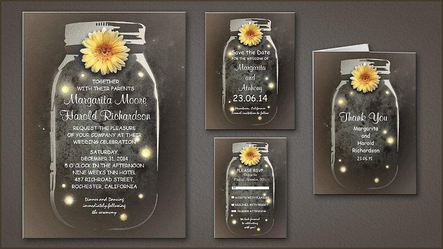 Vintage Mason Jar Wedding Invitations