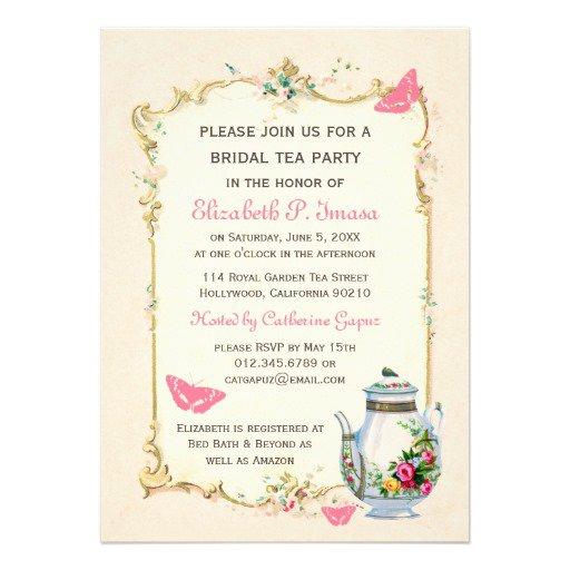 Vintage Tea Party Invitations Templates