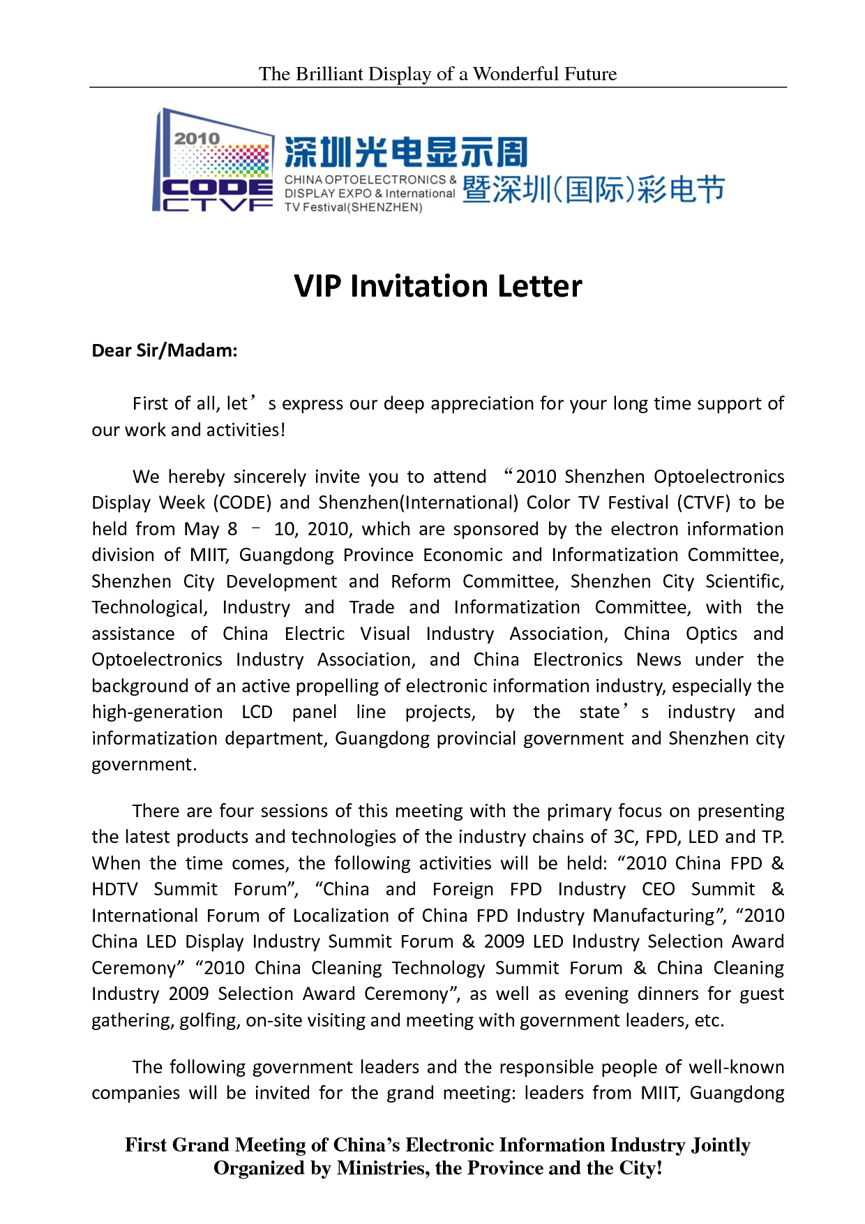 Vip Invitation Sample Letter