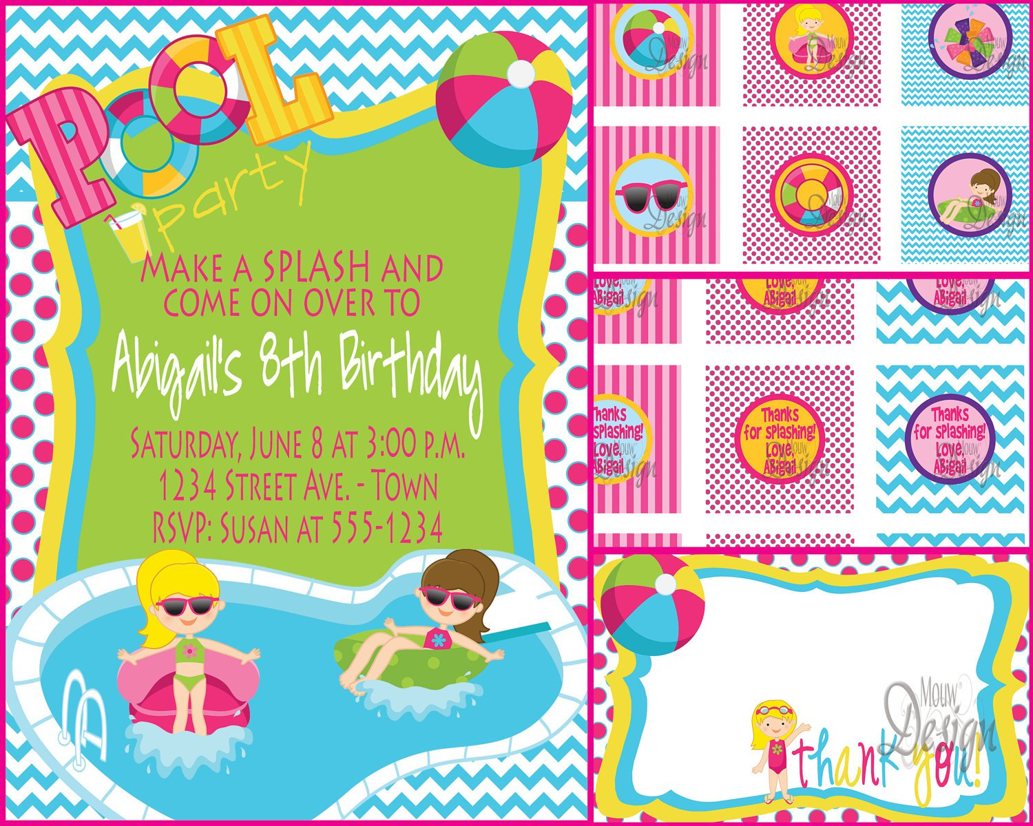 Water Park Invitation Templates Blank