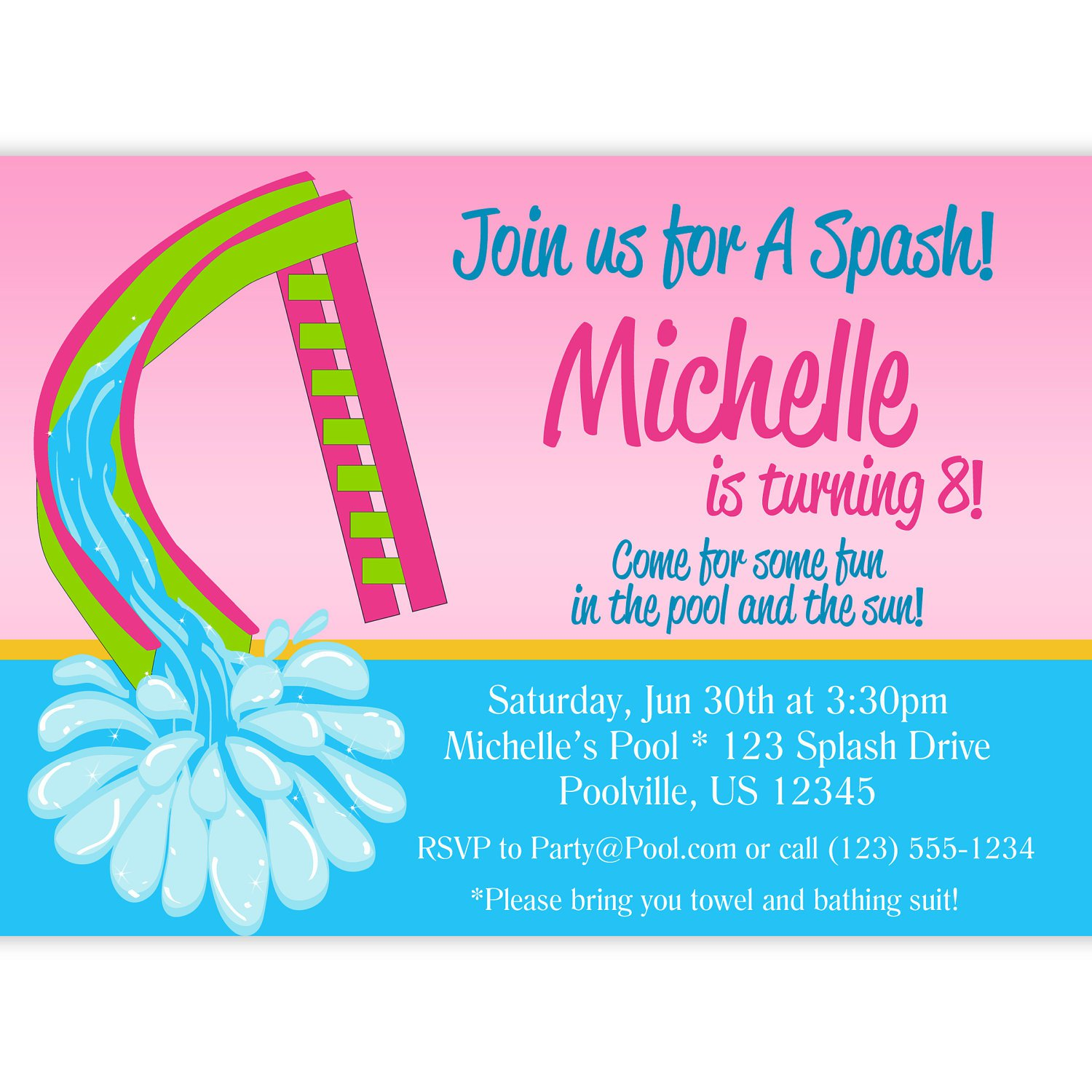 Water Slide Party Invitation Wording
