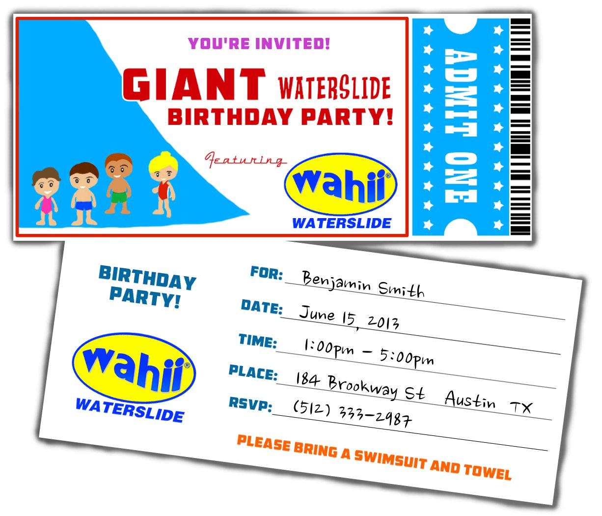 Water Slide Party Invitations