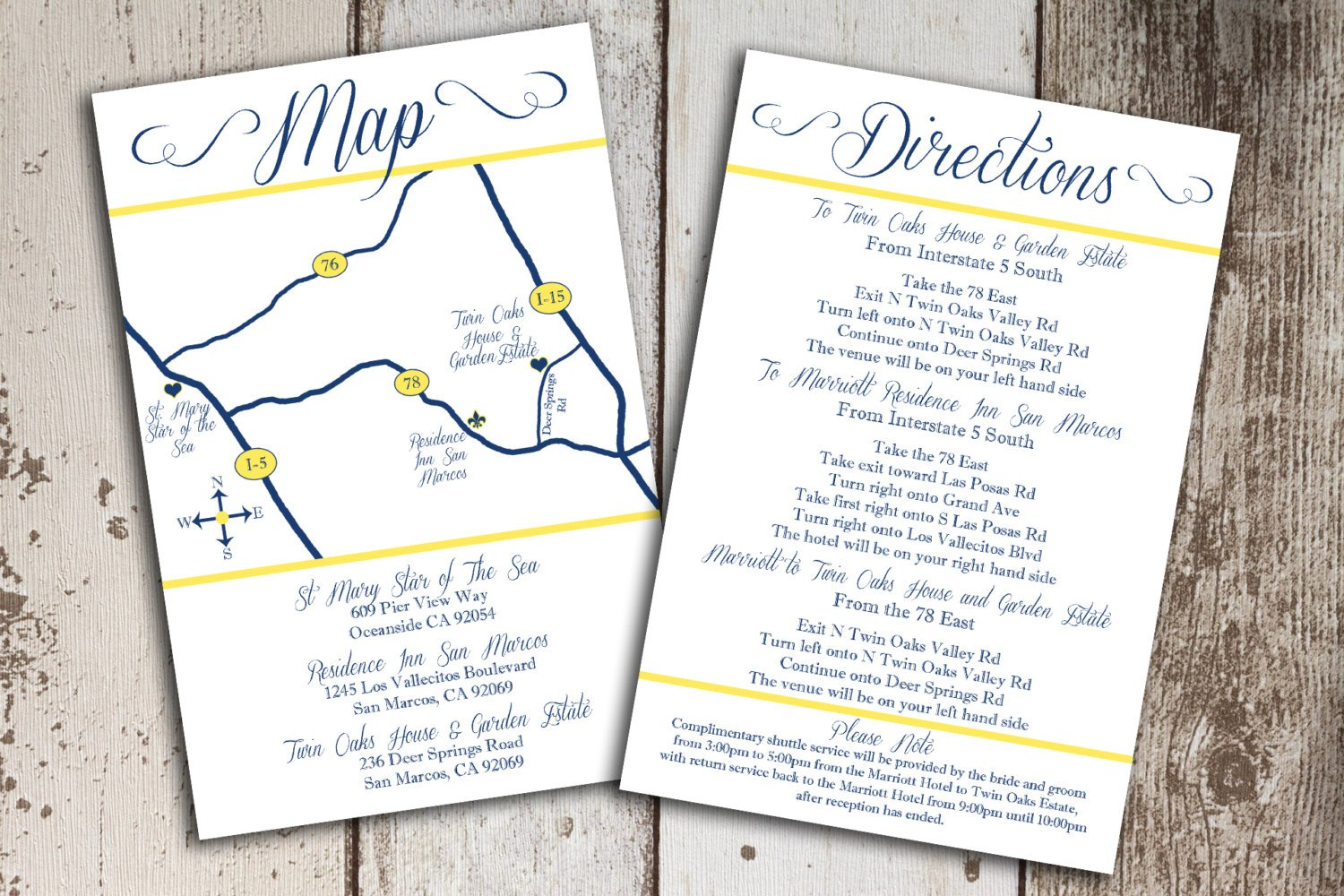 Wedding Invitation Direction Inserts Template