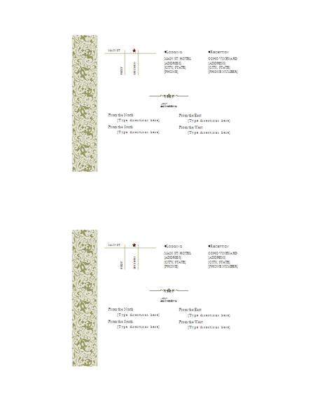 Wedding Invitation Directions Insert