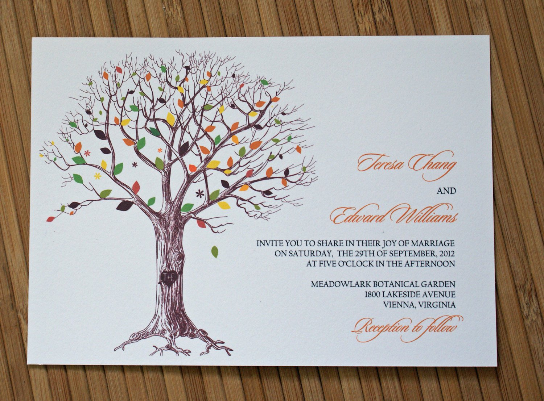 Wedding Invitations Tree With Initials