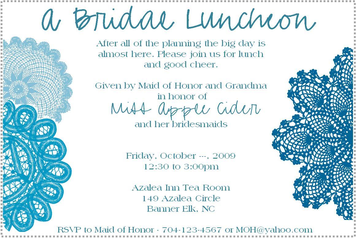 Wedding Luncheon Invitation Examples
