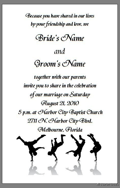 Wedding Reception Dance Only Invitation Wording